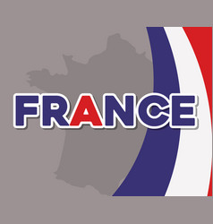 france culture card with flag and map vector image