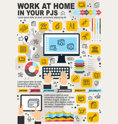 freelance work home and internet business vector image