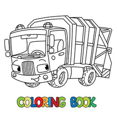 funny garbage truck car with eyes coloring book vector image
