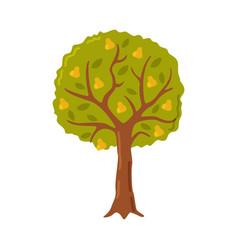 Garden fruit tree with ripe pears cartoon style vector