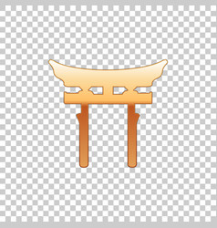 golden japan gate isolated object on transparent vector image