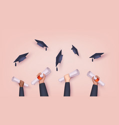 graduating students pupil hands in gown vector image