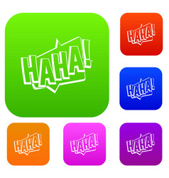 haha comic text sound effect set color collection vector image