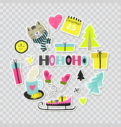 hand draw collection or winter stickers pins vector image