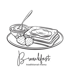 hand drawn toast with jam vector image