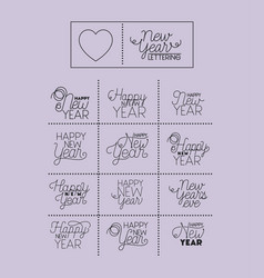 happy new year letterings set vector image