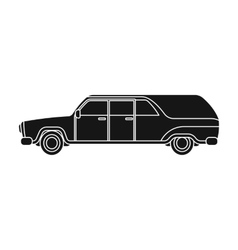Hearse icon in black style isolated on white vector image