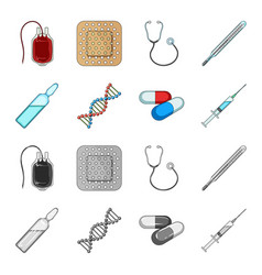 human dna and other equipmentmedicine set vector image