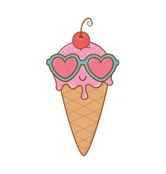 ice cream and heart sunglasses and cherry vector image