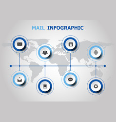 infographic design with mail icons vector image
