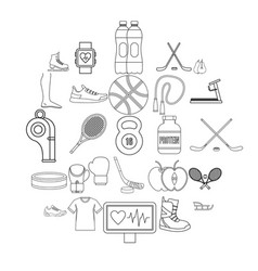 intensity icons set outline style vector image