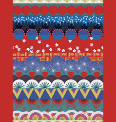 Japanese tribal pattern red blue white teal vector