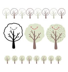 Kawaii smiley face tree set vector