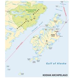 Kodiak archipelago map alaska us vector