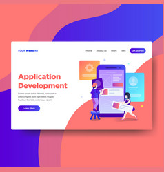 Landing page template of application development vector
