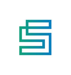 letter s logo design continous line style vector image