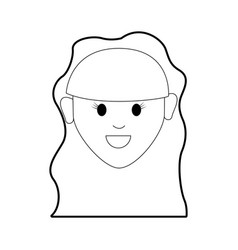 Line happy nice woman with hairstyle vector