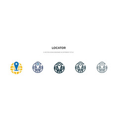 Locator icon in different style two colored and vector