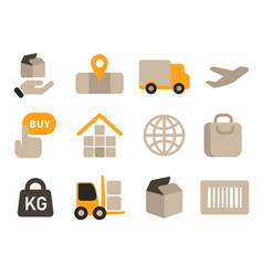 logistics warehouse icon set package weight vector image