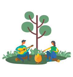 man and woman resting outdoors with guitar picnic vector image