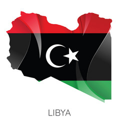 map libya with an official flag on white vector image