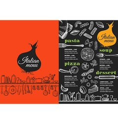Menu italian restaurant food template placemat vector