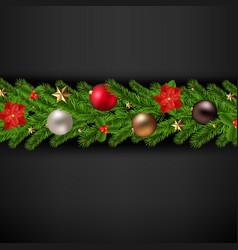 merry christmas card with christmas garland vector image