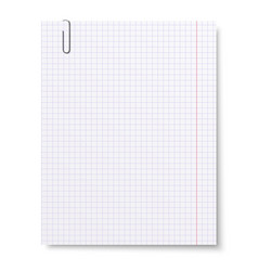 Notebook squared paper with metallic clip isolated vector