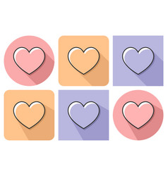 outlined icon of heart with parallel and not vector image