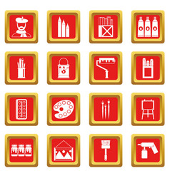 Painting icons set red vector