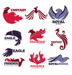 phoenix fire bird fantasy eagle template vector image