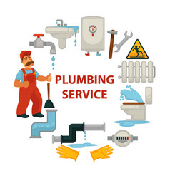 Plumbing service promotional poster with worker vector