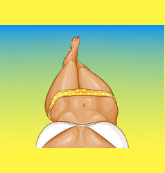 Pop art woman in bikini sexy girl on beach vector