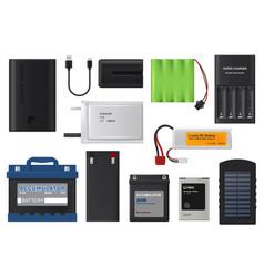 Rechargeable batteries solar accumulators vector