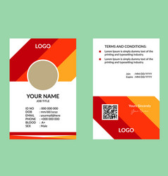 Red nice id card vector