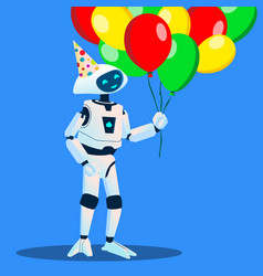 robot have fun with balloons in hand and festive vector image