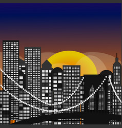 seamless city skyline aerial at sunset vector image