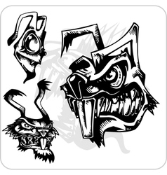 Set - Aggressive rabbit vector image vector image