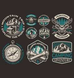 Set black and white logos for camping theme vector