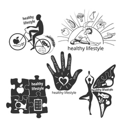 Set icons healthy lifestyle vector