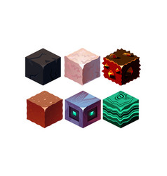 set isometric blocks with different vector image