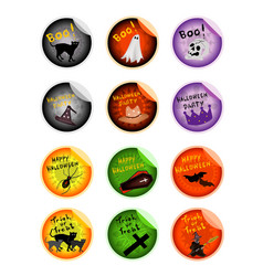 Set of various evils and items on halloween sticke vector