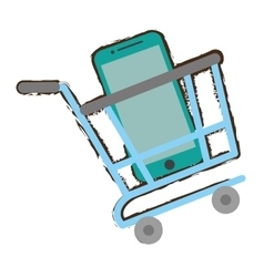 Shopping cart online green mobile phone screen vector