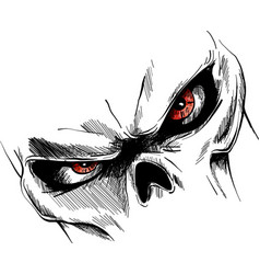 Skull with red eyes cartoon image vector