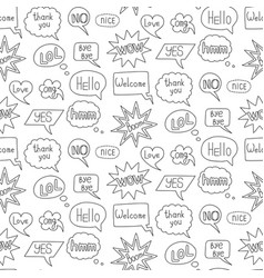 speech bubble doodle seamless pattern on white vector image