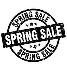 spring sale round grunge black stamp vector image