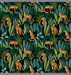 Vestor seamless pattern with leopards and tropical vector