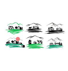 village emblem farmer signs for products country vector image