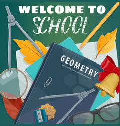 Welcome to school blackboard and books poster vector