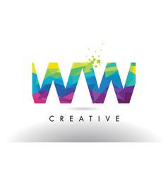 Ww w colorful letter origami triangles design vector